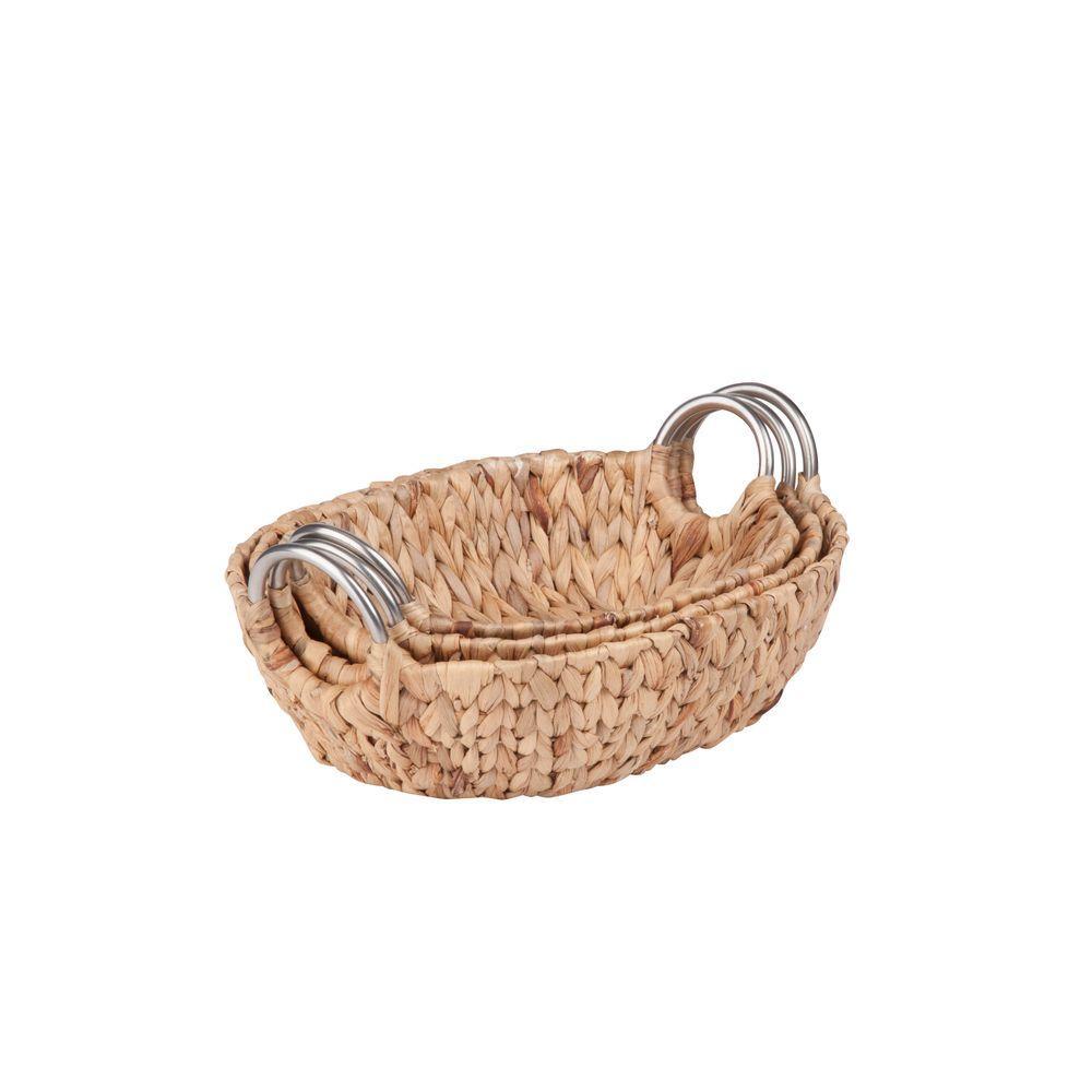 Oval Water Hyacinth Basket Set with Metal Handles (3-Piece)