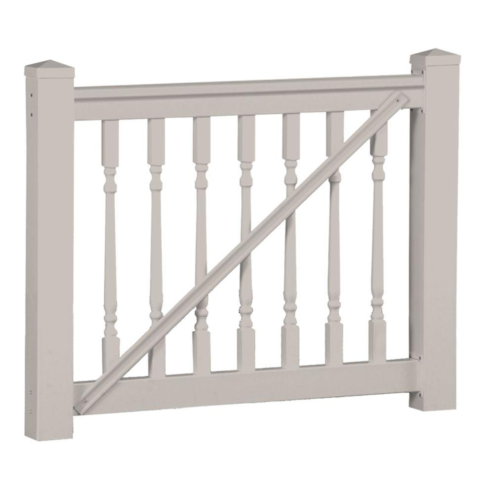 Weatherables delray 3 5 ft h x 5 ft w tan vinyl railing gate kit wtg thdd42 c60 the home depot - Vinyl railing reviews ...
