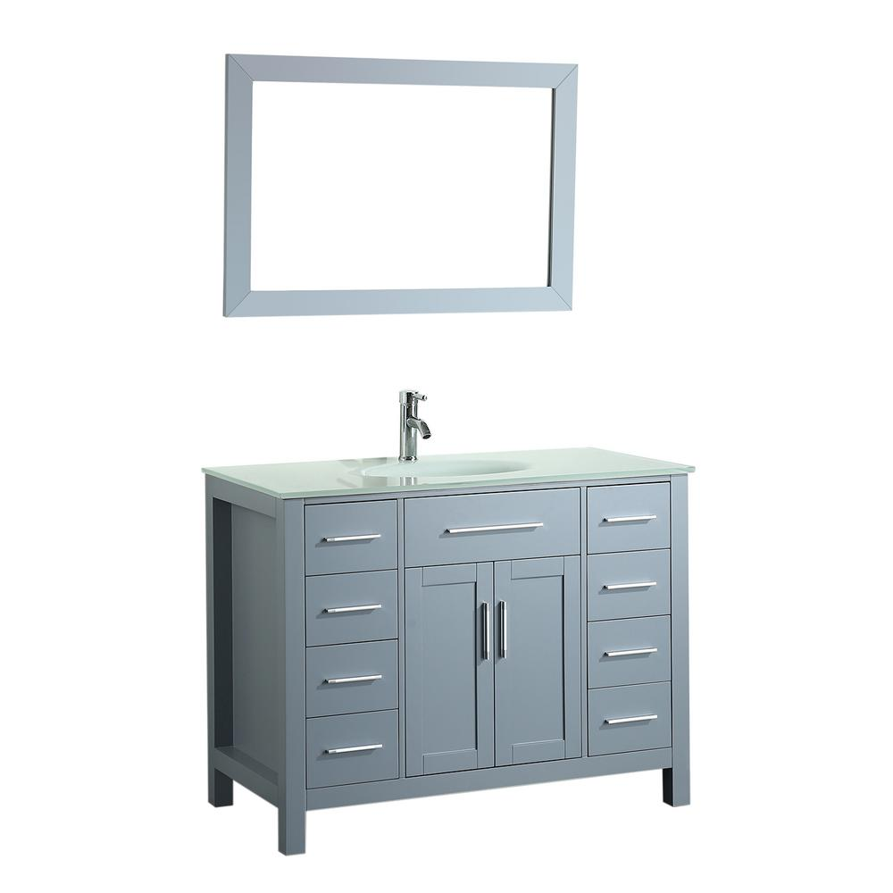 Bosconi 43.3 in. W Single Bath Vanity in Grey with Tempered Glass ...