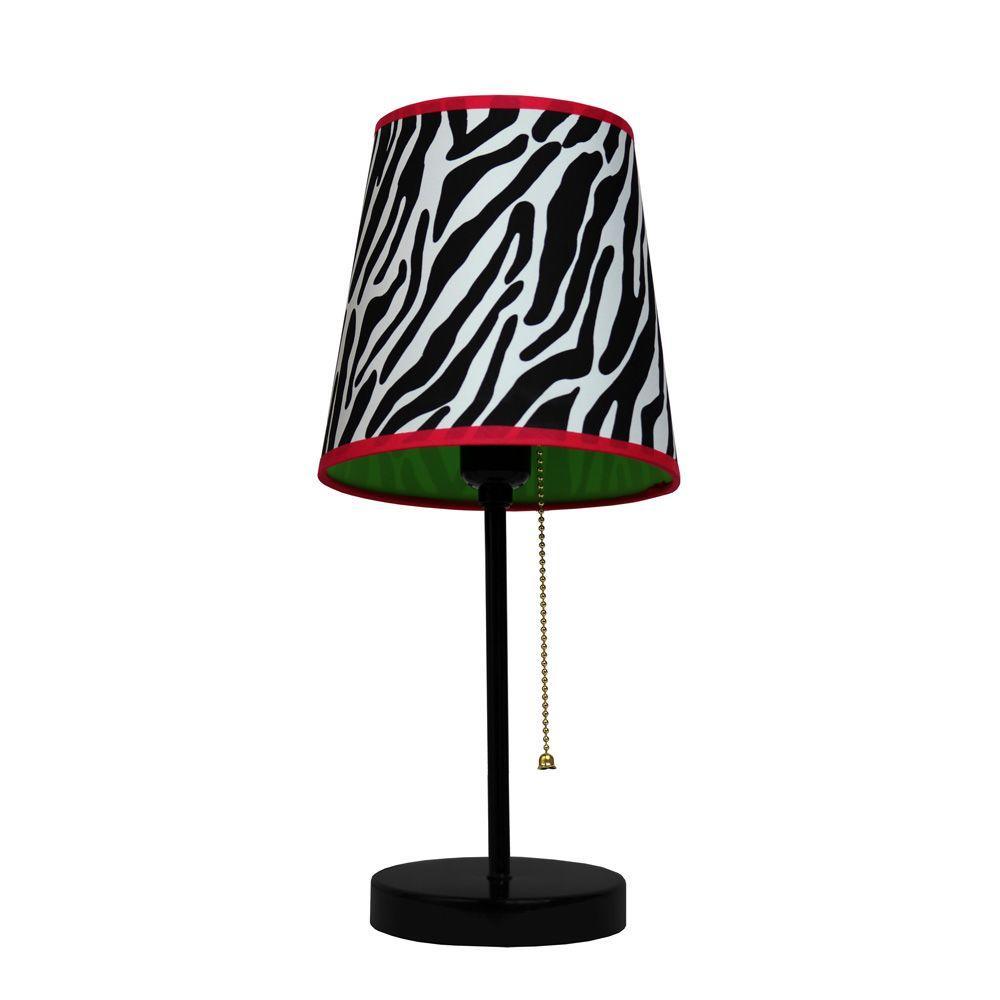 Black And Pink Zebra Fun Prints Table Lamp
