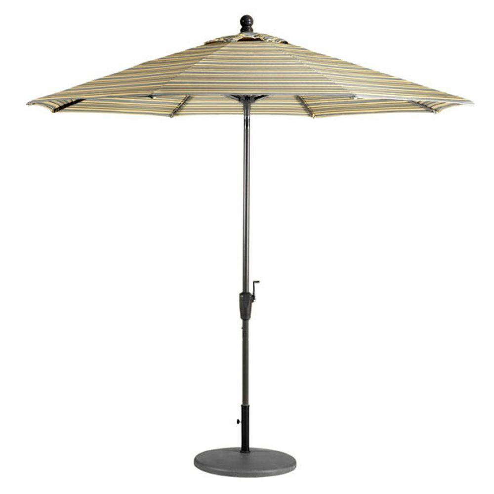 Home Decorators Collection Sunbrella 11 ft. Auto-Crank Tilt Patio Umbrella in Foster Metallic Stripe-DISCONTINUED