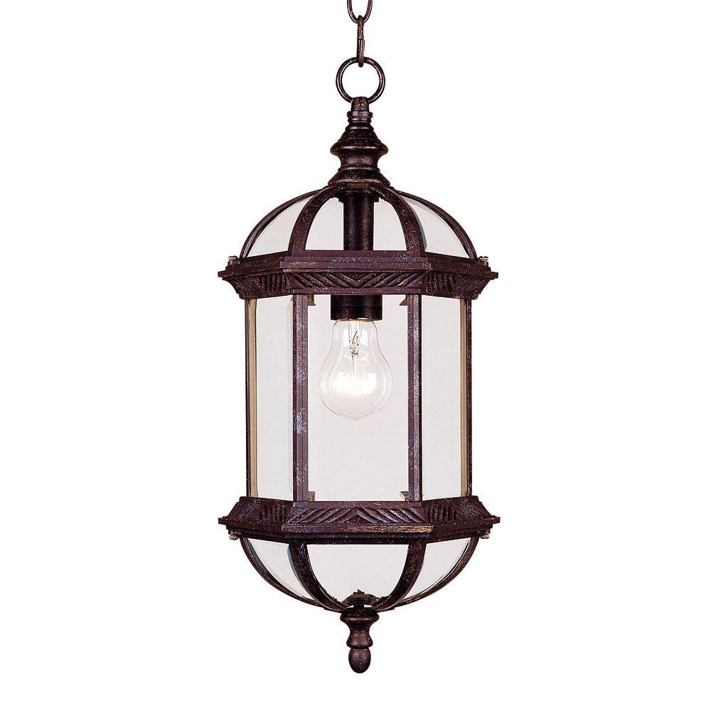 1-Light Outdoor Hanging Rustic Bronze Lantern with Clear Beveled Glass
