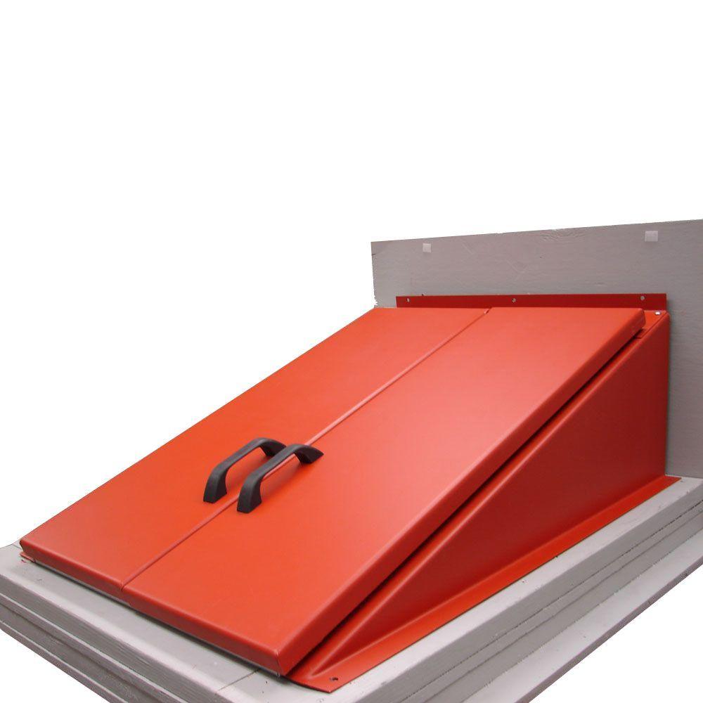 45 in. x 57 in. H Primed Red Steel Cellar Door