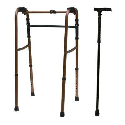 Adjustable Aluminum Folding Walker and 5-Section Derby Handle Cane