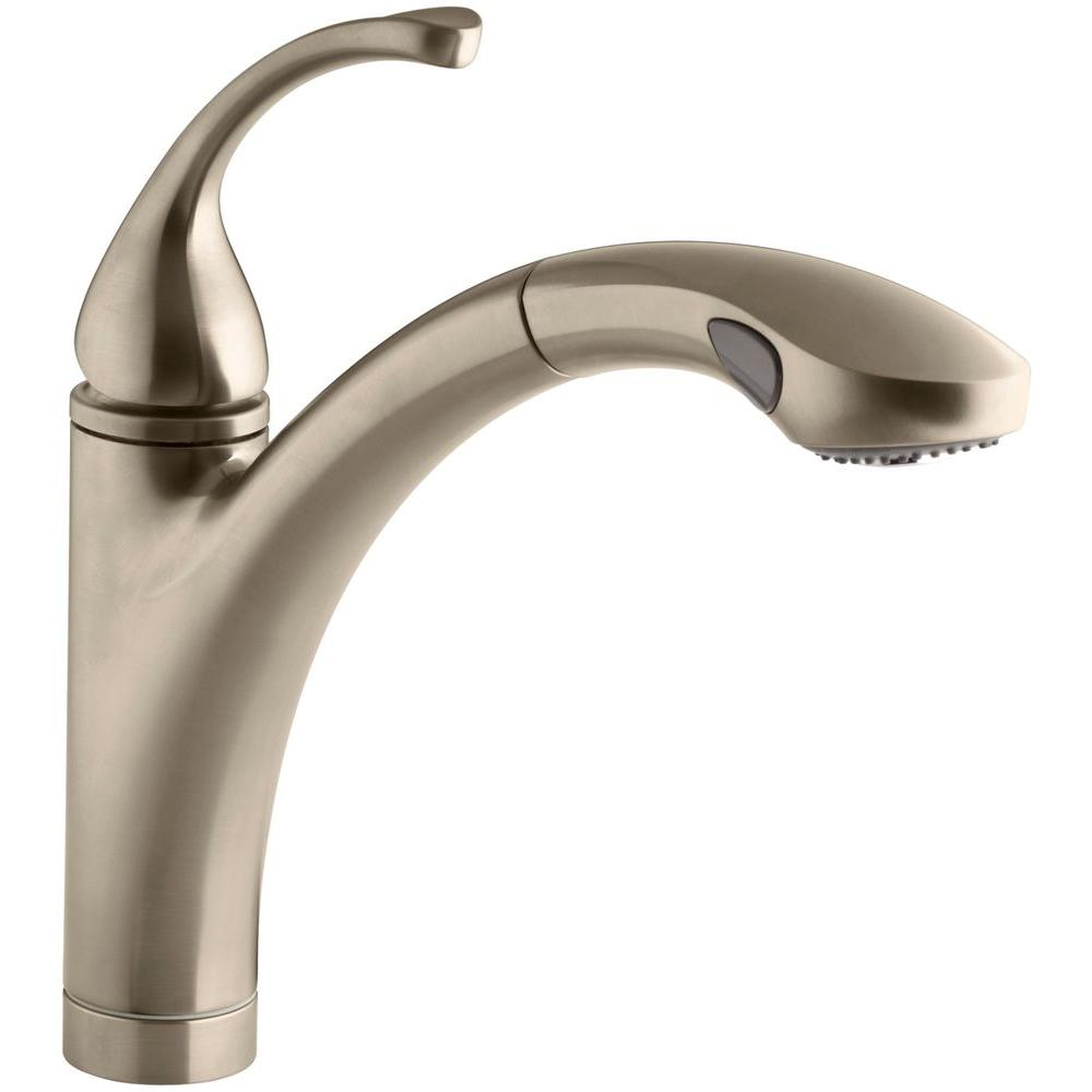 KOHLER Forte Single-Handle Pull-Out Sprayer Kitchen Faucet In Vibrant Brushed Bronze