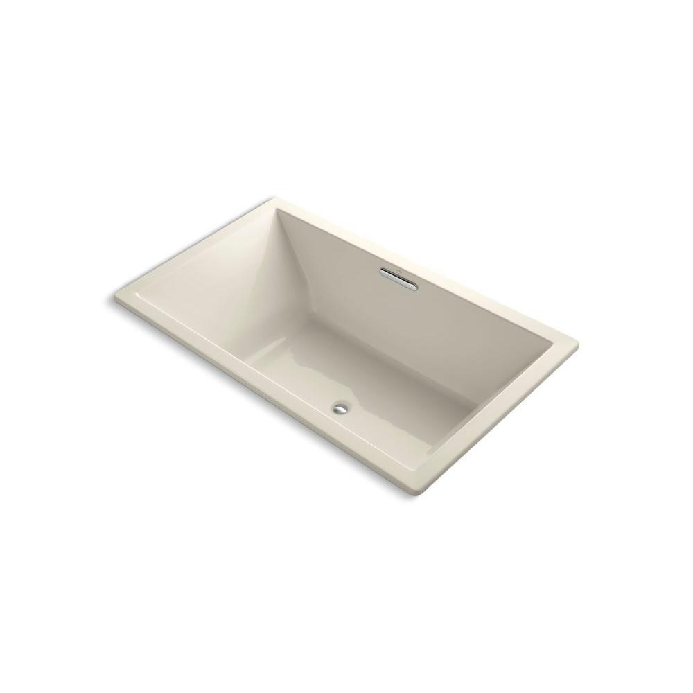 KOHLER Underscore 6 ft. Rectangular Drop-in Center Drain Soaking Tub in Almond