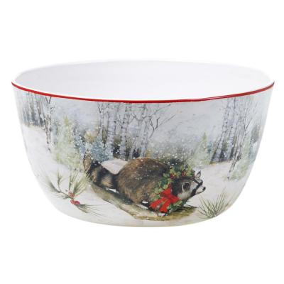 Winter Forest 192 oz. Multicolored Earthenware Deep Bowl
