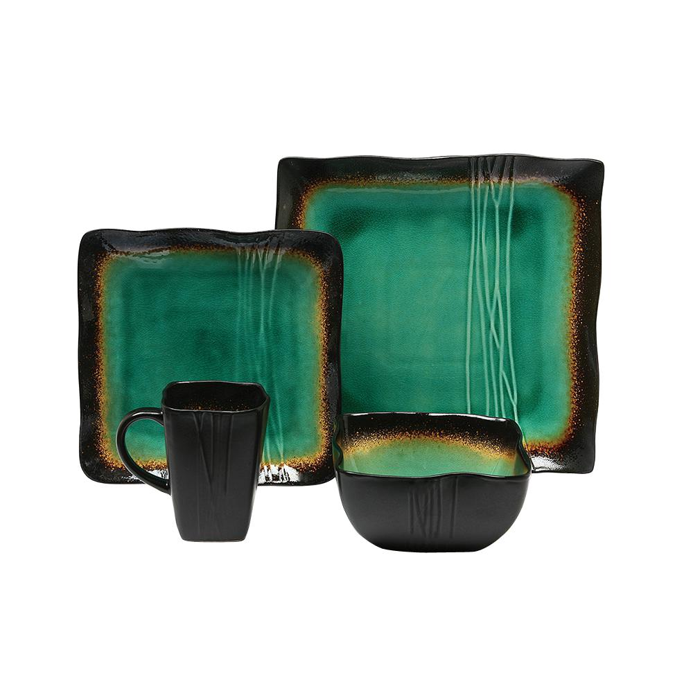 Baum Galaxy 16 Piece Asian Inspired Green Ceramic Dinnerware Set Service For 4 Bbbgj16d The Home Depot