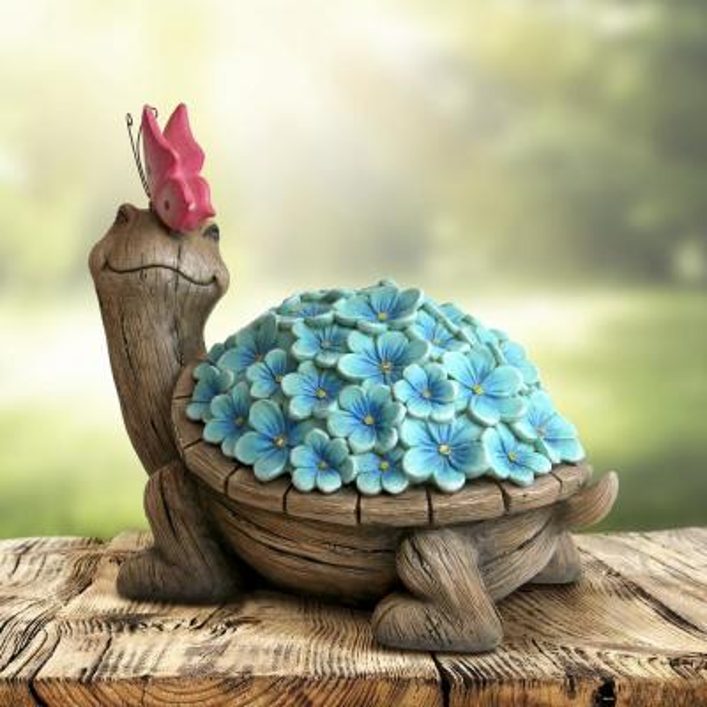 Solar Flower Shell Turtle Garden Statue