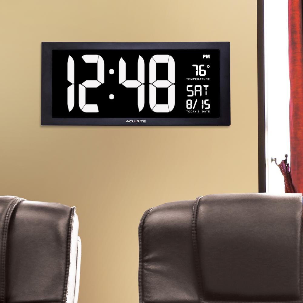 AcuRite 18 in. Large LED Clock with Indoor Temperature in White ...