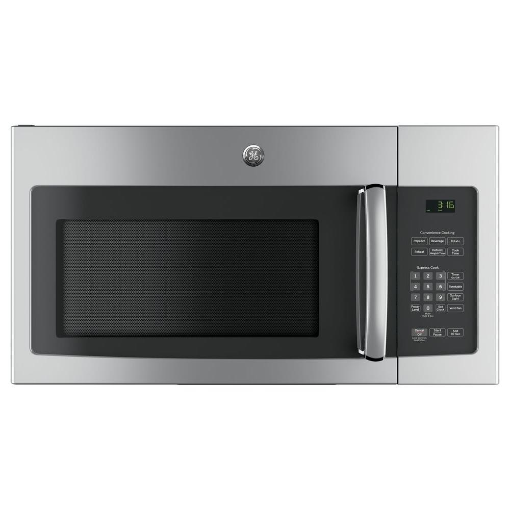 Ge 30 in 1 6 cu ft over the range microwave in - Stainless steel microwave interior ...
