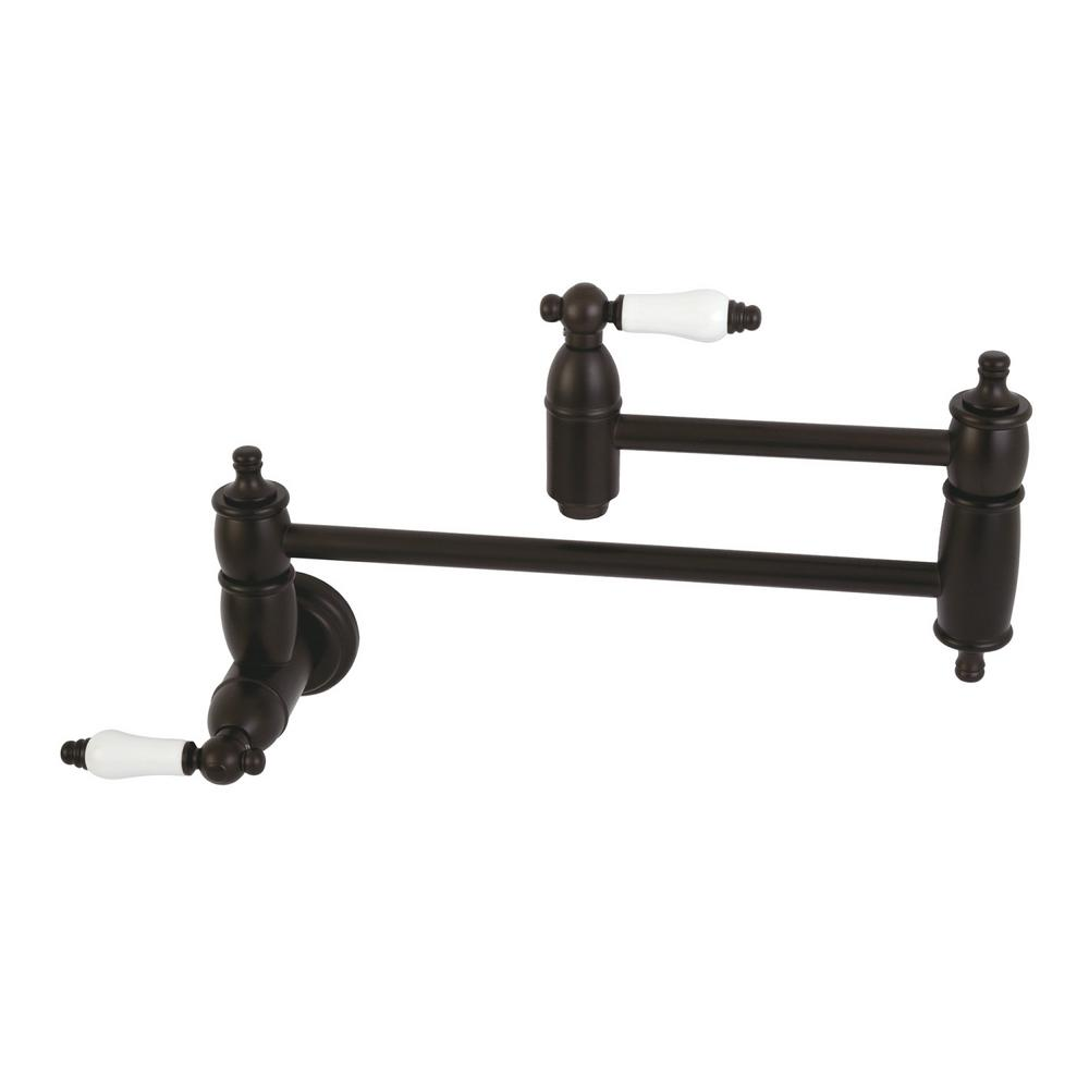 Kingston Br Wall Mounted Potfiller With Porcelain Handles In Oil Rubbed Bronze
