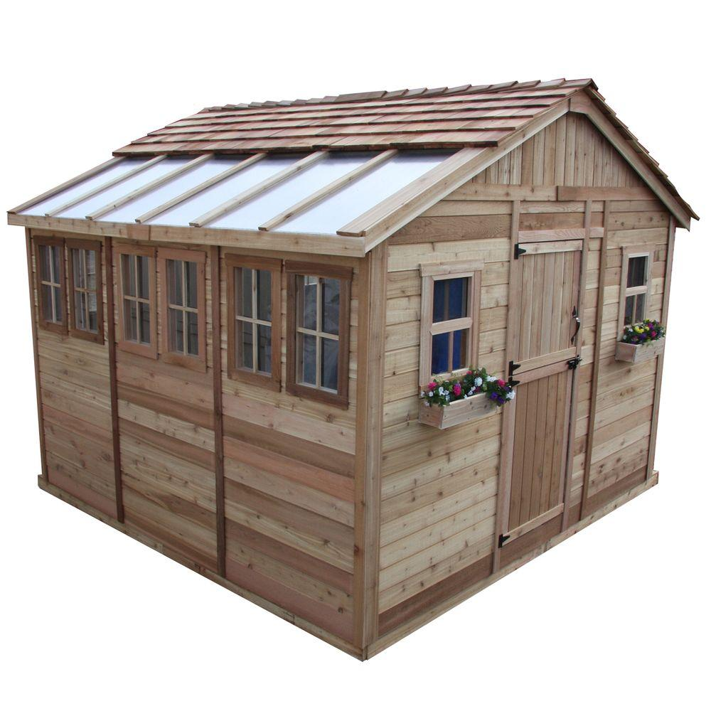 outdoor living today sunshed 12 ft x 12 ft western red cedar garden shed