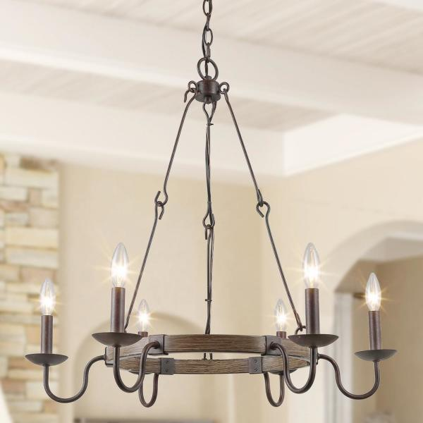 Sombre Modern 6-Light Rustic Bronze Round Candle Chandelier Transitional Wagon Wheel Ceiling Pendant Light