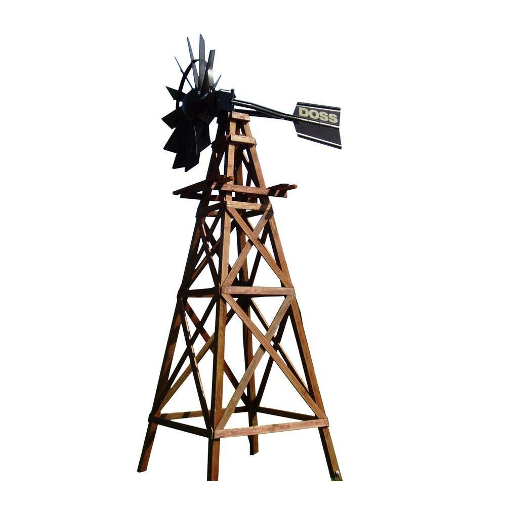 16 ft. 4 Legged Wooden Aeration Windmill with Powder Coat Head