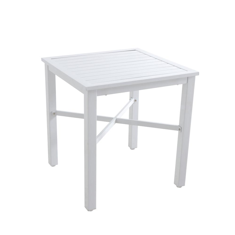 Lattice White Square Metal Outdoor Bistro Table With Slat Top