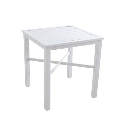 26 in. Mix and Match Lattice White Square Metal Outdoor Patio Bistro Table with Slat Top