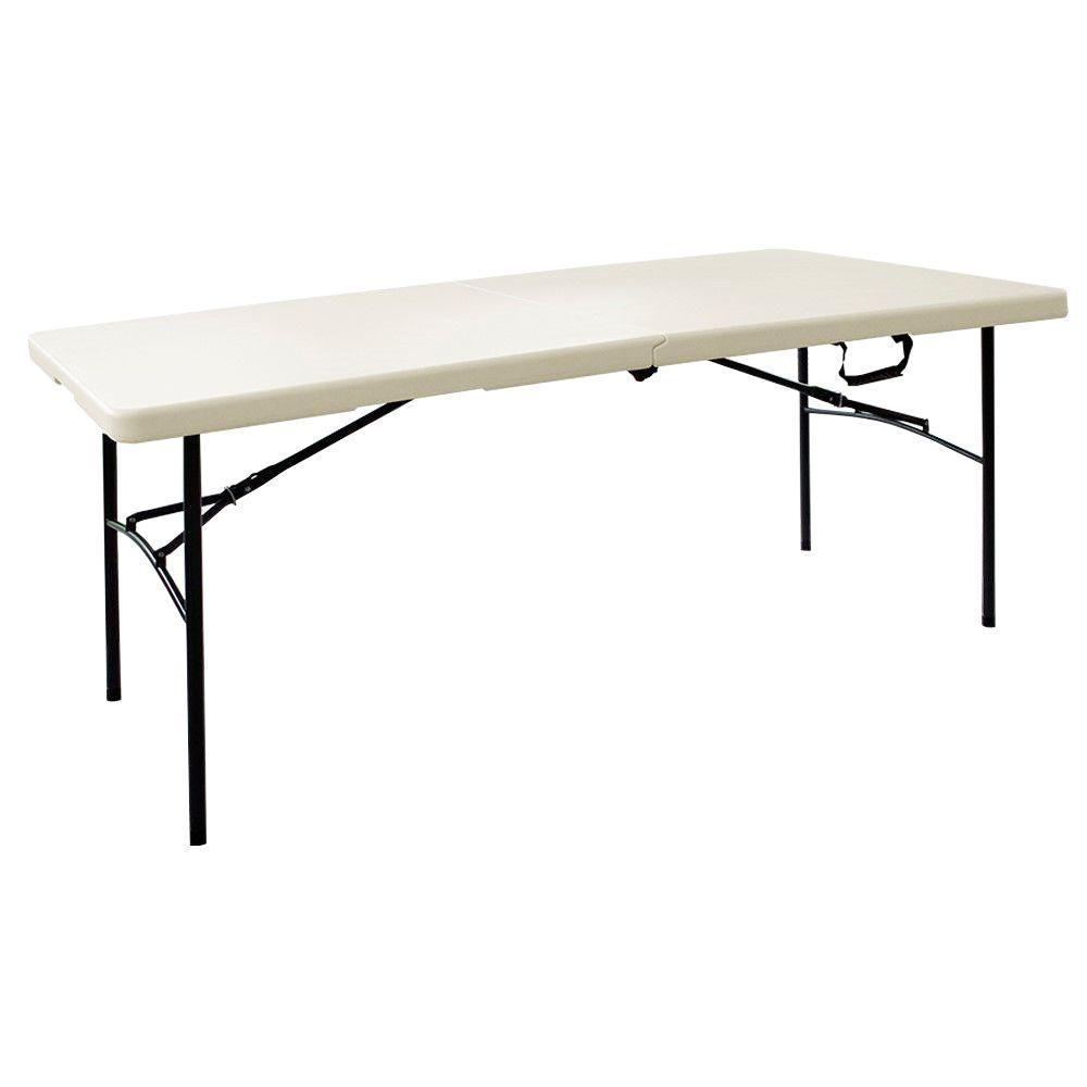 HDX 6 ft Earth Tan Folding Resin Table TA3072FX03 The Home Depot