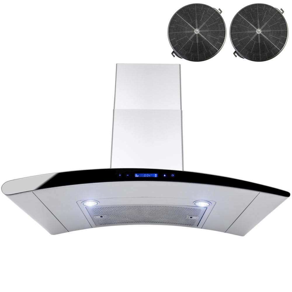 AKDY 36 in. Convertible Wall Mount Range Hood in Stainless Steel with Touch Control and Carbon Filters