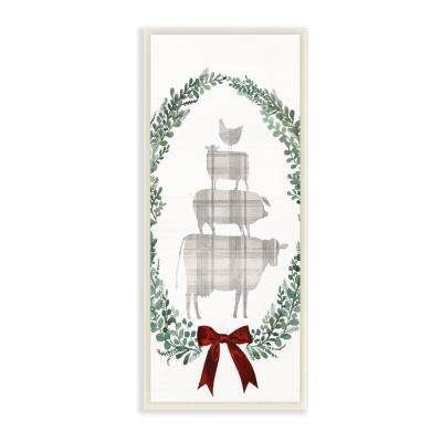 "7 in. x 17 in. ""Holiday Farmhouse Plaid Stacked Farm Animals in a Wreath"" by Artist Victoria Borges Wood Wall Art"