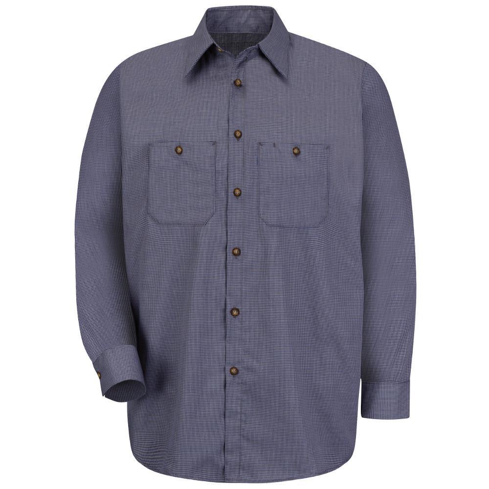 Men's Size 4XL (Tall) Blue/Charcoal Check Micro-Check Uniform Shirt
