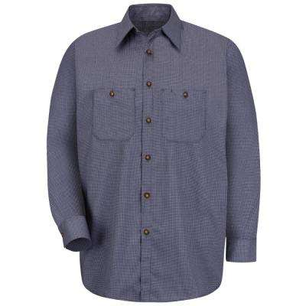 Men's Size 5XL Blue/Charcoal Check Micro-Check Uniform Shirt