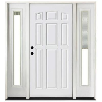 68 in. x 80 in. 9 Panel Primed White Right-Hand Steel Prehung Front Door with 14 in. Mini Blind Sidelites 6 in. Wall