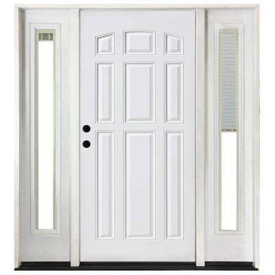 68 in. x 80 in. 9-Panel Primed White Right-Hand Steel Prehung Front Door with 14 in. Mini Blind Sidelites 4 in. Wall