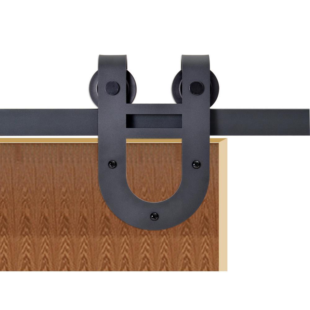 72 in. Matte Black Rustic Horseshoe Barn Style Sliding Door Track and Hardware Set