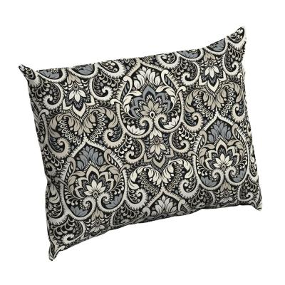 Black Aurora Damask Rectangle Outdoor Throw Pillow