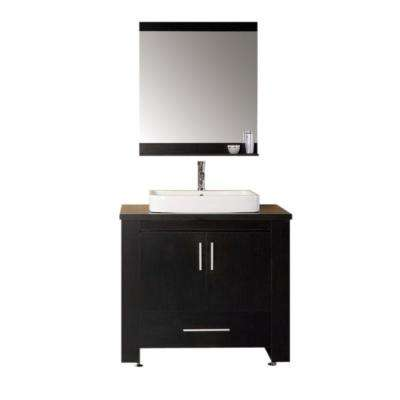 Washington 36 in. W x 22 in. D Vanity in Espresso with Water Resistant Vanity Top and Mirror in Black