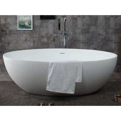 AB9941 67 in. Resin Flatbottom Bathtub in Matte White