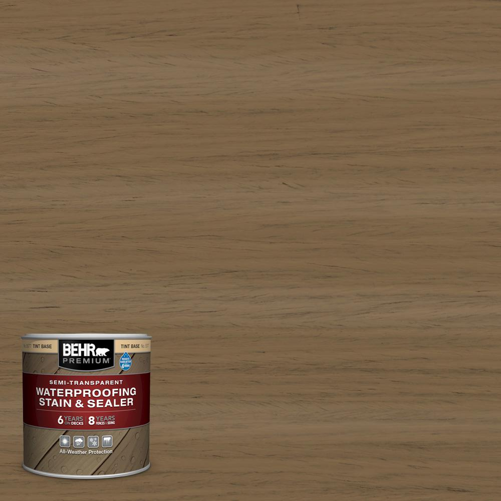 BEHR Premium 8 oz. #ST-147 Castle Gray Semi-Transparent Waterproofing Exterior Wood Stain and Sealer Sample