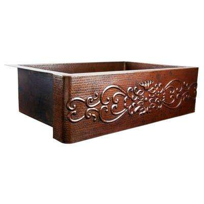 Pauling Farmhouse Apron Front Handmade Pure Copper 36 in. Single Bowl Kitchen Sink with Scroll Design