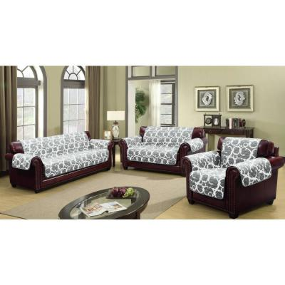 Rhys Grey Reversible Water Resistent Microfiber Loveseat Cover