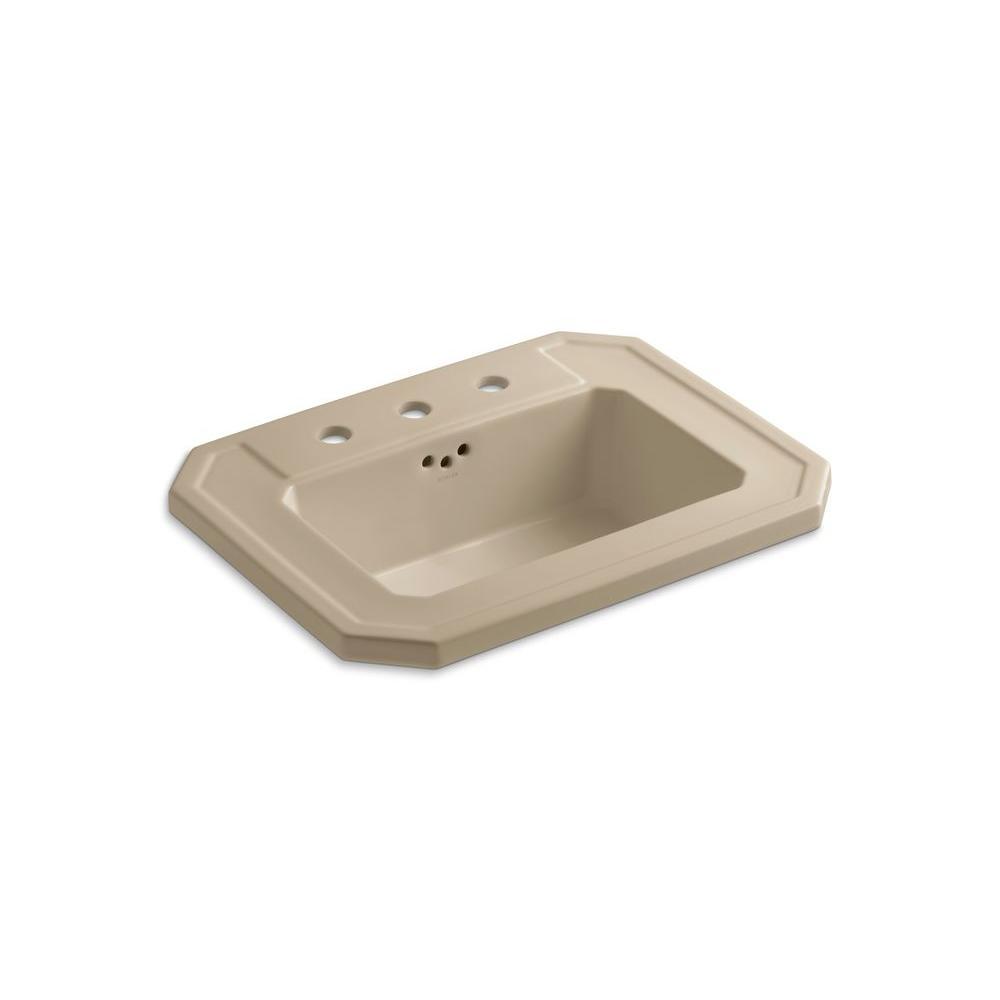 KOHLER Kathryn Drop-In Ceramic Bathroom Sink in Mexican Sand with Overflow Drain