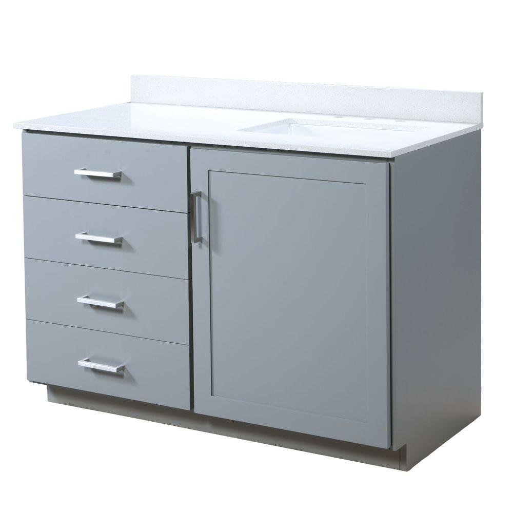 Maykke Liverpool 48.5 in. W x 22 in. D Vanity in Light Gray with Quartz Vanity Top in White with White Basin