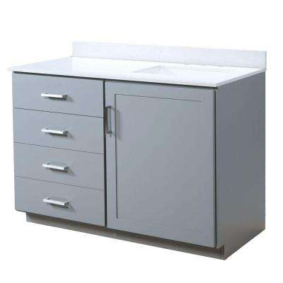Liverpool 48.5 in. W x 22 in. D Vanity in Light Gray with Quartz Vanity Top in White with White Basin