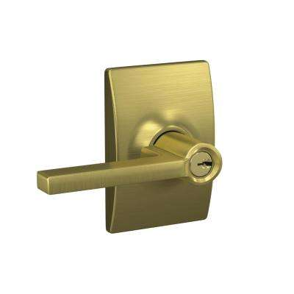 Custom Latitude Satin Brass Century Trim Keyed Door Lever