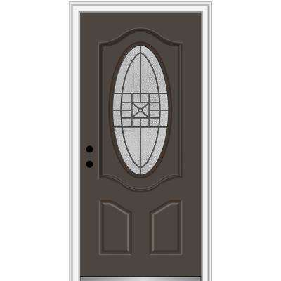 36 in. x 80 in. Courtyard Right-Hand Oval-Lite Decorative Painted Fiberglass Smooth Prehung Front Door, 6-9/16 in. Frame