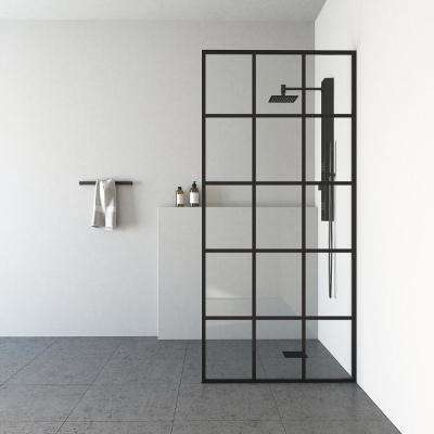 Mosaic 34 in. x 74 in. Framed Fixed Shower Door in Matte Black without Handle