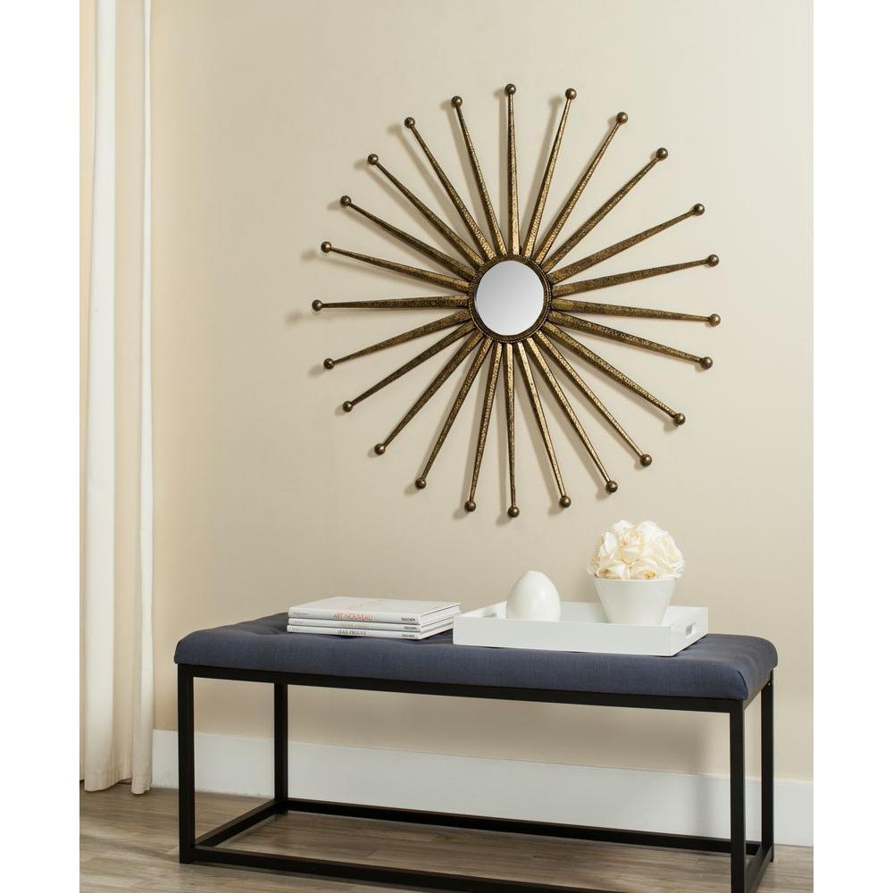Capella Sunburst 40 in. x 40 in. Iron Framed Mirror