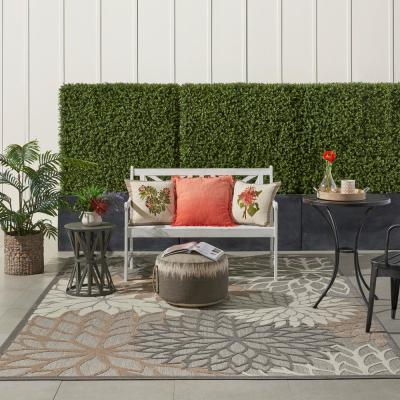 Aloha Patio Natural 8 ft. x 11 ft. Floral Modern Indoor/Outdoor Area Rug