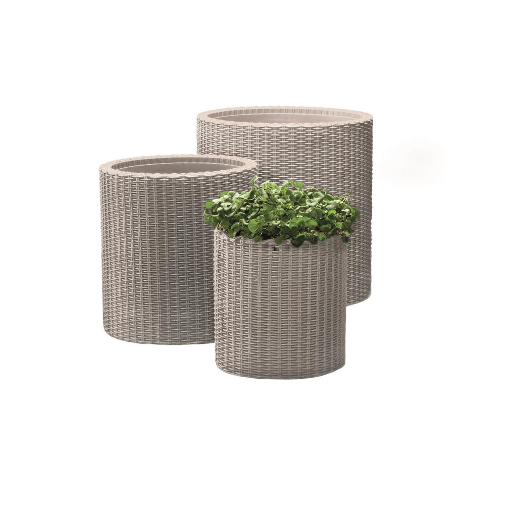 Keter Round Beige Rattan Resin Planters Set Of 3