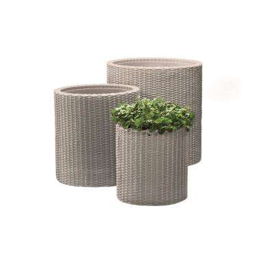Round Beige Rattan Resin Planters (Set of 3)