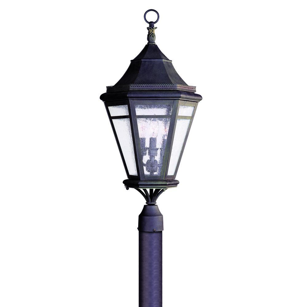 Morgan Hill 3-Light Outdoor Natural Rust Post Light
