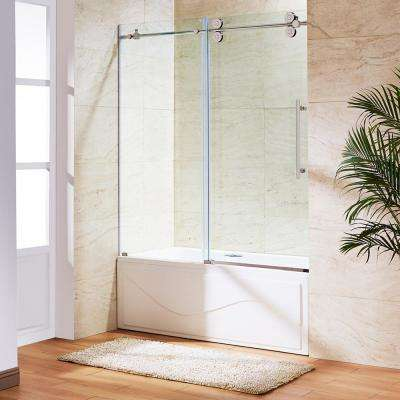 60 in. x 66 in. Frameless Sliding Tub Door in Stainless Steel and Clear Glass