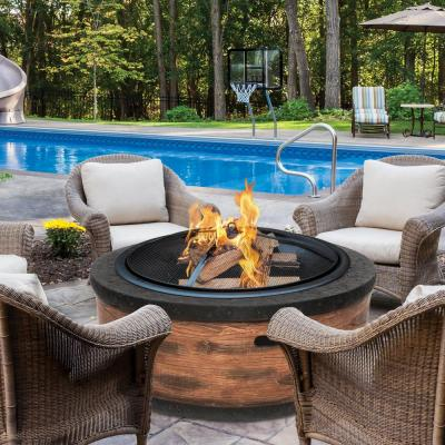 28 in. x 19.8 in. Round Cast Stone Wood Burning Fire Pit in Rustic Wood