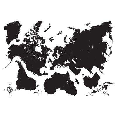 Black Map Wall Decal