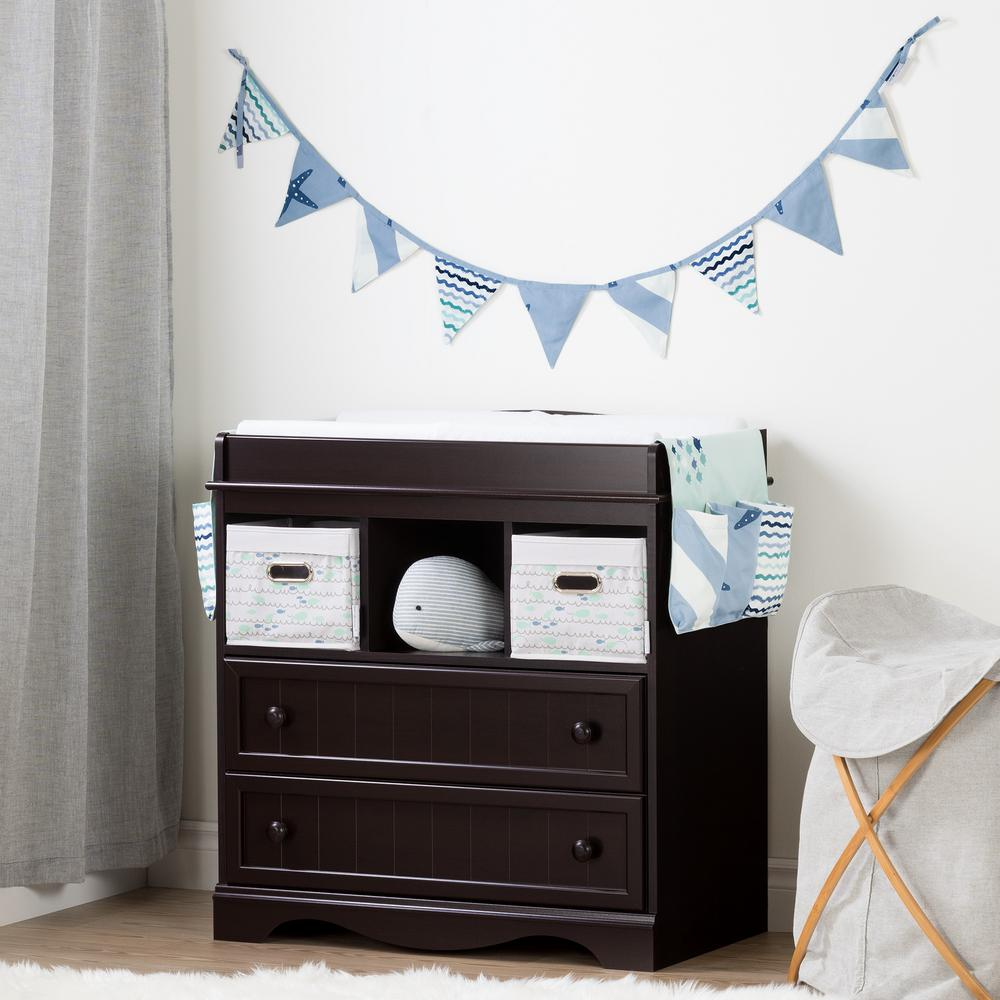 South Shore Savannah Espresso And Blue Changing Table With Little Whale  Runner And Pennant Banner